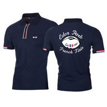 2021 nova roupa masculina de malha camisa polo contraste cor manga curta turn-down pescoço topo respirável esporte masculino polo