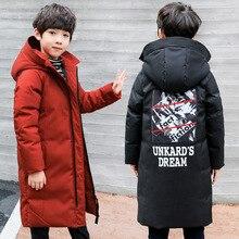Коллекция года, зимняя теплая куртка одежда для мальчиков хлопковая водонепроницаемая куртка на пуху с капюшоном Детская парка, куртка для детей до-30 градусов, J