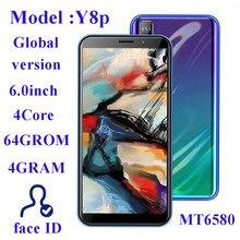 Smartphone Y8p, Android, Quad Core, identificación facial, pantalla de 13MP HD, 4G RAM, 64G ROM, Original, desbloqueado, 6,0 pulgadas, 2SIM