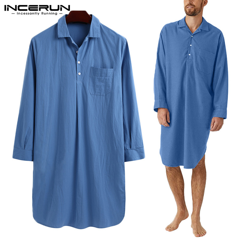 Fashion Men Robes Sleepwear Cotton Long Sleeve Solid Leisure Lapel Homewear Bathrobes Cozy Soft Loose Men Nightgown 5XL INCERUN