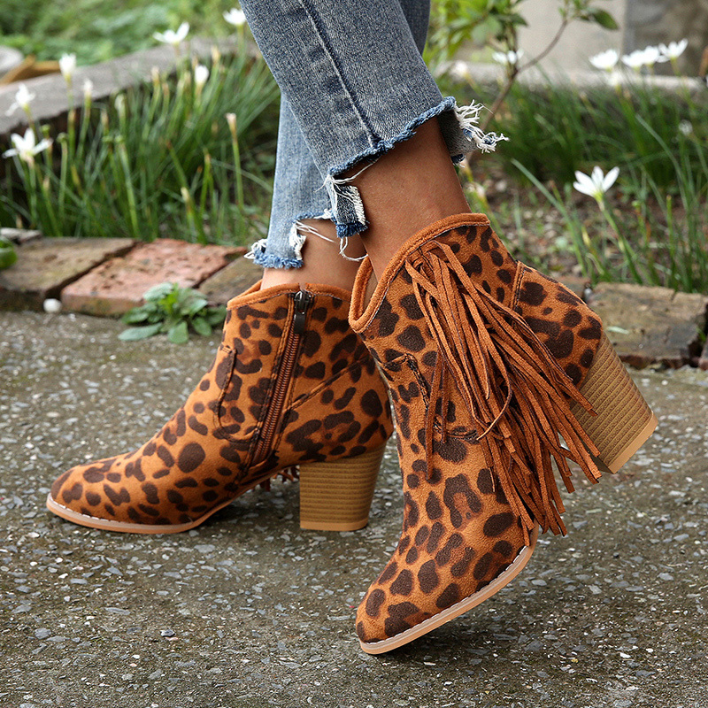 Fujin Women Boots Dropshipping Fashion Leopard Print Sexy Pointed Toe Ankle Boots Slip on Deep V High Heel Tassel Autumn Boots in Ankle Boots from Shoes
