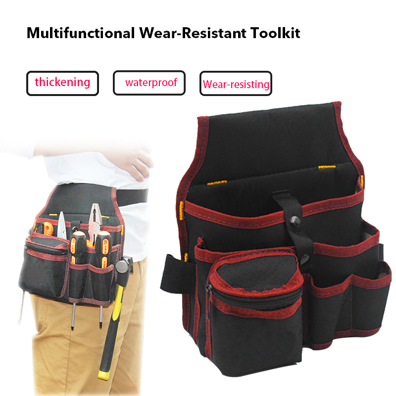 Urijk Waist Tool Bag Large Capacity Waist Pockets Electrician Tool Bag Oganizer Carrying Pouch Tools Bag Belt Waist Pocket Case