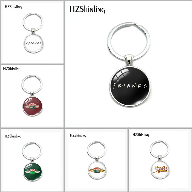 2018 New TV Friends Keychain Central Perk Coffee Time Glass Dome Keyring Silver Pendants Christmas Charm Gift Fashion Jewelry