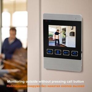 "Image 3 - HomeFong 4 ""جهاز اتصال داخلي مزود بفيديو للأبواب نظام فيديو باب الجرس HD الأشعة تحت الحمراء للرؤية الليلية Deurbel مع بطاقة 32G لأمن الوطن عدة"