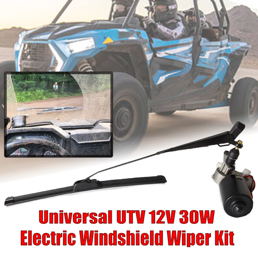 Electric UTV Windshield/Wiper Motor 12V Hard Coated Polycarbonate Universal Windshield Wiper Kit