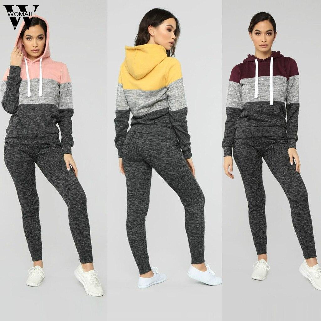Womail Tracksuit Women 2019 Sportwear Tracksuit 2 Piece Set Hoodies Sweatshirt+Long Pant Fashion Female Loose Pullover Sports 99