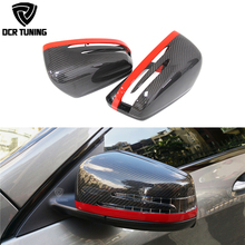 цена на 1:1 Replacement Carbon Fiber Mirror With Red Line For Mercedes Benz A B C E S CLS GLK Class W176 W204  W246 W221 W212 X204 W218