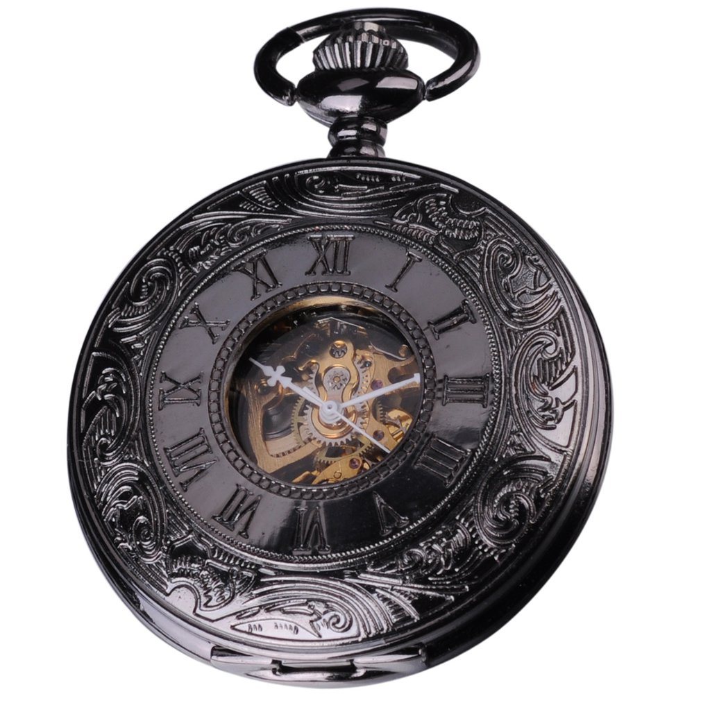 Vintage Retro Mechanical Hand Winding Roman Analog Black Skeleton Pendant Mens FOB Clip Chain Pocket Watch Jewelry Gift / WK891