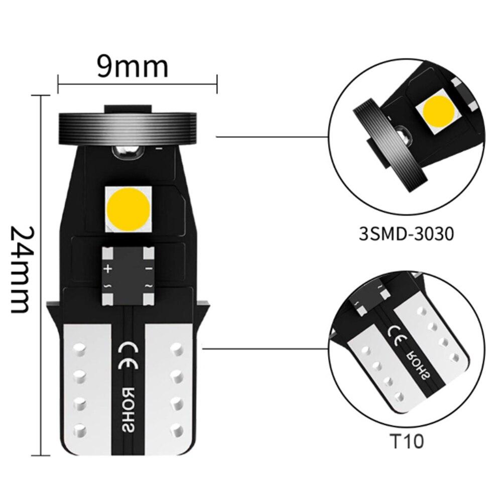10 шт. T10 светодиодный Canbus W5W Автомобильный светодиодный сигнальный светильник 12V 6500K 3030 чип T10-3SMD интерьер Ширина светильник белый 194 168 158 деко...