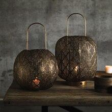 Candelabro vintage de metal con forma de linterna para decoración del hogar, centro de mesa grande de cobre rústico marroquí, colgante de hierro, BF50CH