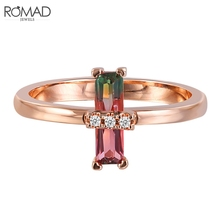 ROMAD Zirconia Engagement Ring for Women Unique Wedding Rose Gold Art Deco Baguette Finger Boho Jewelry R4
