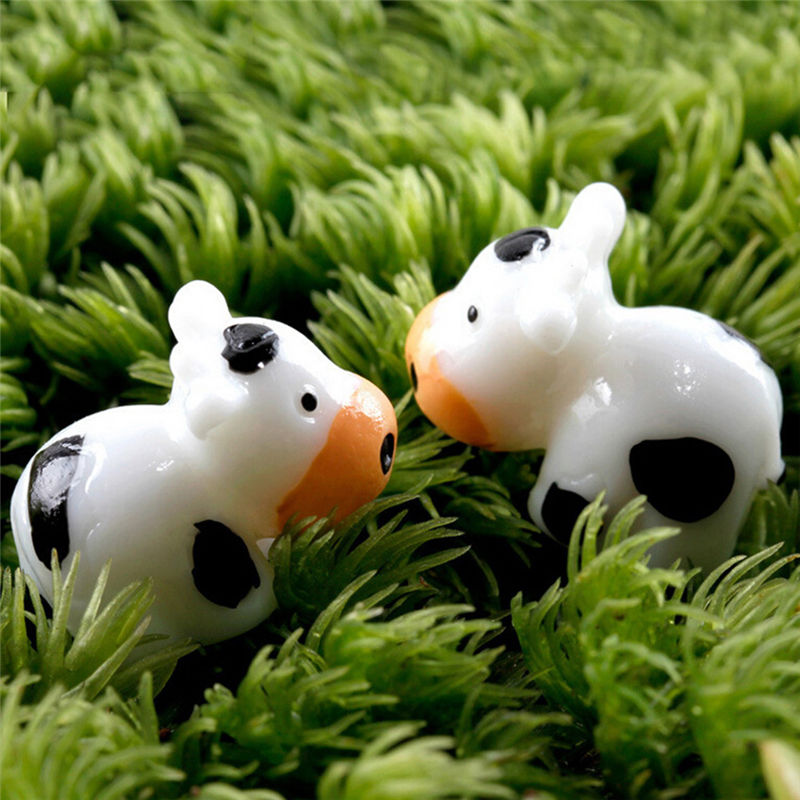 2pcs Cow Animals Fairy Garden Miniatures Mini Gnomes Moss Terrariums Resin Craft Figurines For Garden Decoration Home Decor