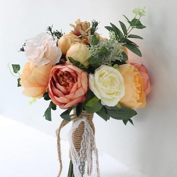 Holding Flower Artificial Flowers Silk Peony For Wedding Decoration Simulation Retro Peony Flower Bride Bridesmaid Bouquet