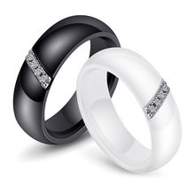 HIYONG Unique Rings Women 6mm Ceramic Ring for Women India Stone Crystal Comfort Wedding Rings Engagement Jewelry Black White(China)