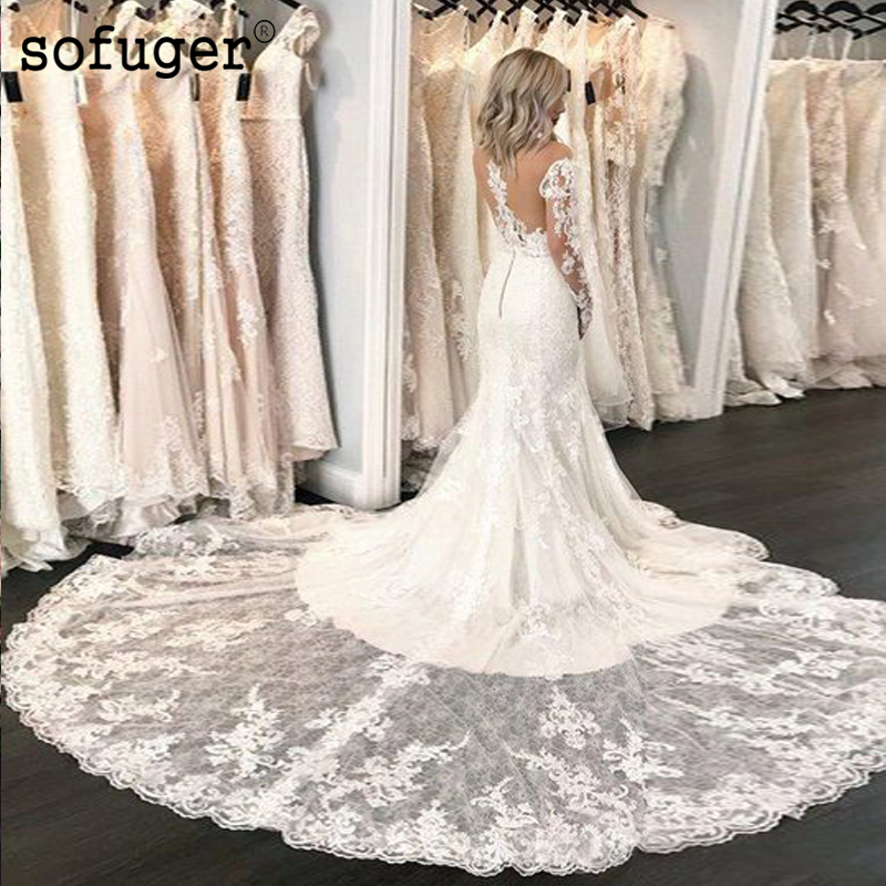 Mermaid Brush Train Weddding Dresses Long Sleeves Illusion Bodice Bridal Gown Wedding Vestidos De Noivas Custom Made