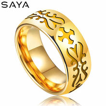 Кольцо для мужчин кольцо золотистого цвета с вольфрамовым гальваническим