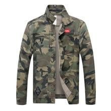 New Men Camouflage Denim Jacket Slim Fit Camo Jean Jackets For Man Trucker Jackets Outerwear Coat Size S-4XL Turn Down
