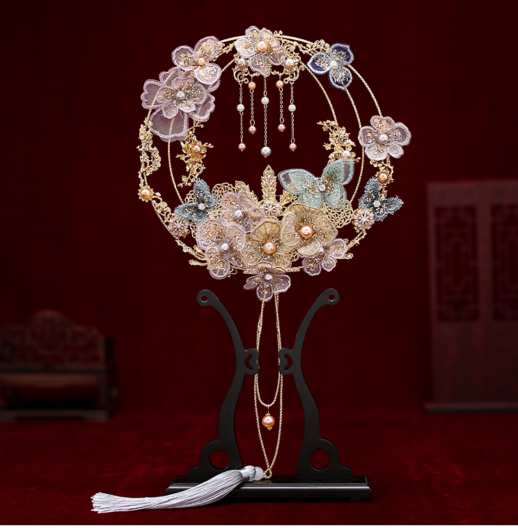 PEORCHID Ancient Style Bridal Fan Bouquet Chinese Traditional Round Palace Hand Fan Hanfu Bride Wedding Accessories