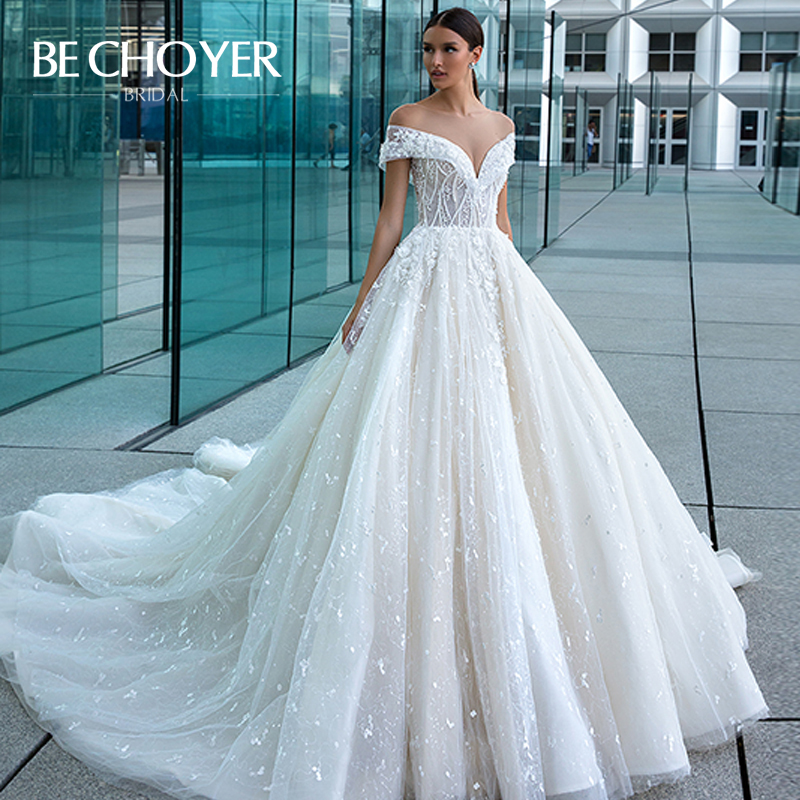 Romantic 3D Flowers Wedding Dress BECHOYER F128 Sweetheart Appliques A-Line Court Train Illusion Bride Gown Vestido De Noiva