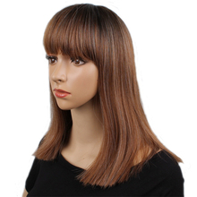 Long Brown Wigs with Bangs Women Wigs Synthetic Hair Wig Straight with Full Bang High Temperature Fiber