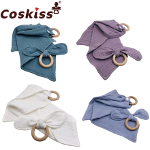 Coskiss 2Pc/Set Wooden Teether Bunny Ear Wooden Rings Baby Bib Cotton Towel For