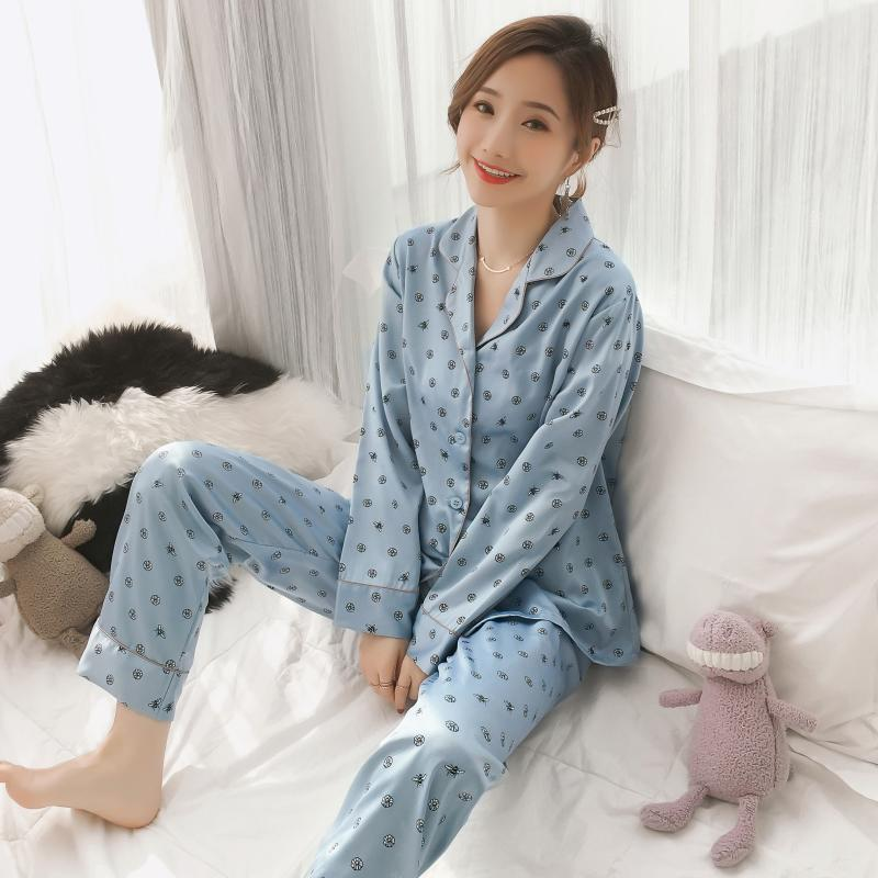 Viscose Pajamas Women Long Sleeve Printing Mesh Red Autumn New Style Silk Sexy Loose Korean-style Homewear Set