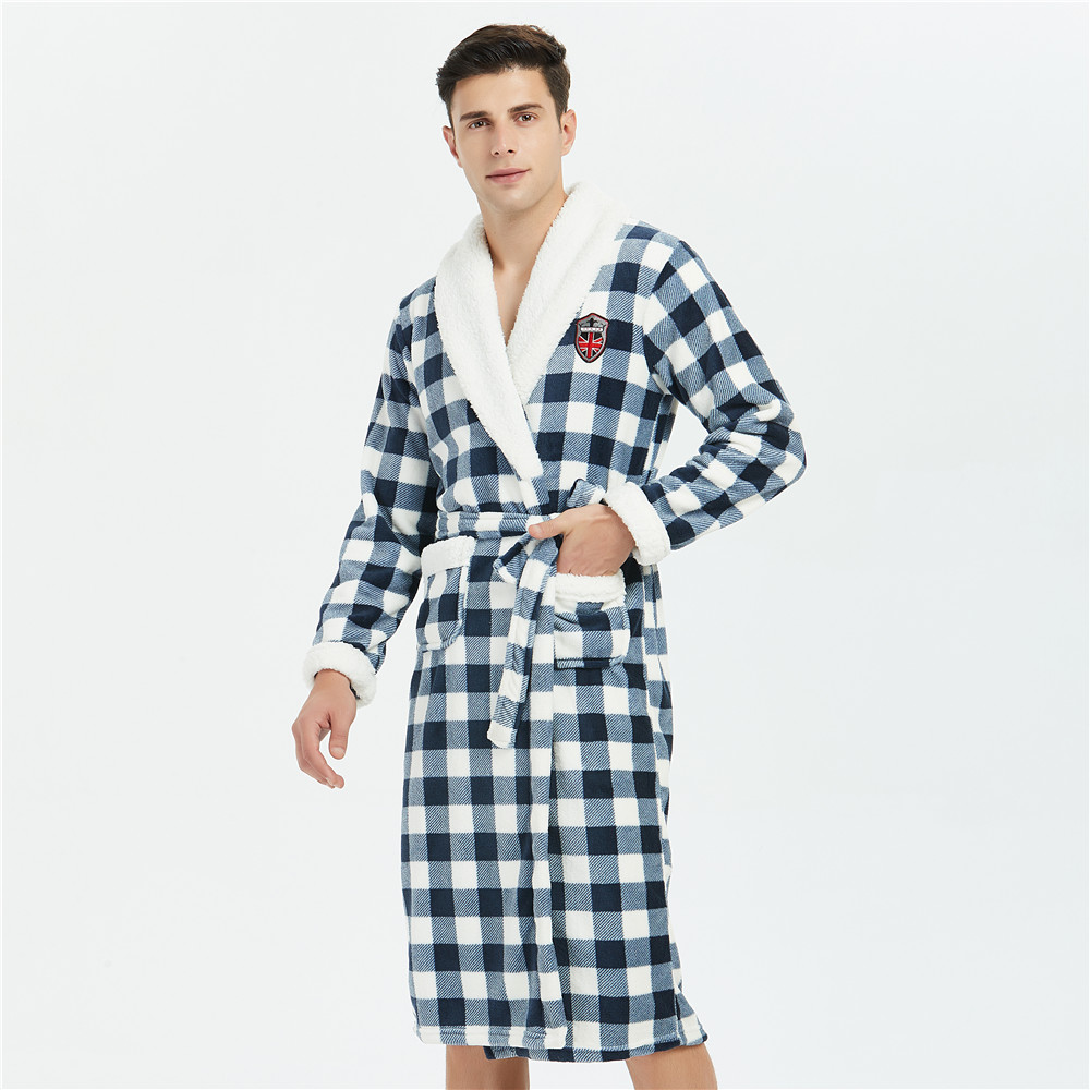 Thicken Men Winter New Robe Kimono Gown Sexy Loose Padded Coral Fleece Bathrobe Sleepwear Nightwear Long Sleeve Home Clothing