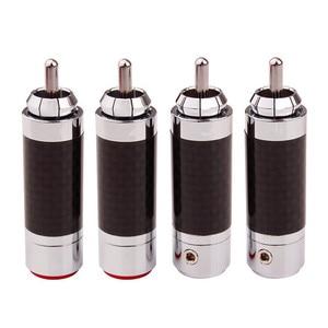 Image 1 - 20 шт., Hi Fi штекер аудиосигнала, RCA конector, усилитель DIY, RCA разъем, углеродное волокно, медь, родиевое покрытие, адаптер динамика