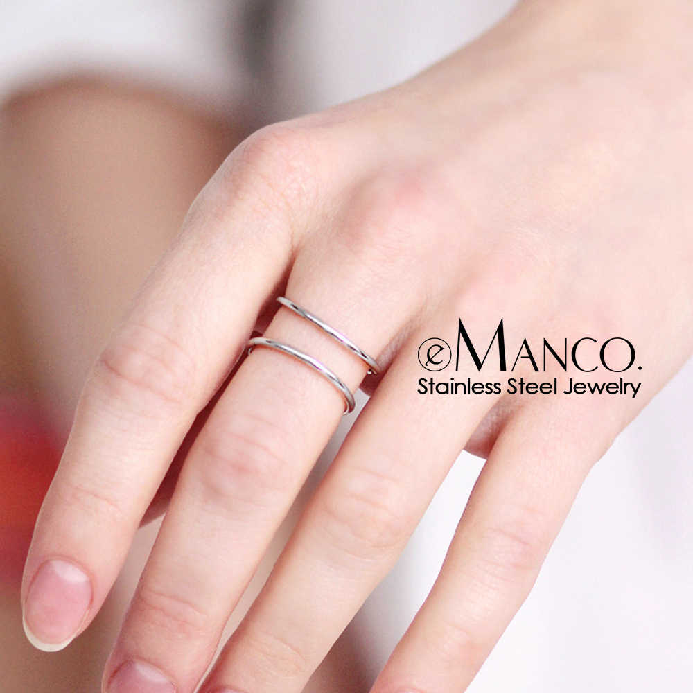 E-מנקו טרנדי נירוסטה טבעות לנשים בציר גיאומטרי זרת טבעת מעדן stackable עגול midi טבעות תכשיטים