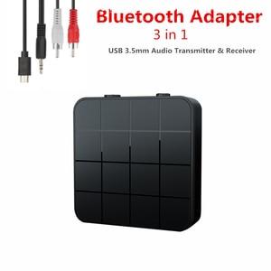 Image 1 - KEBIDU 3 في 1 Bluetooth5.0 استقبال الارسال الصوت ستيريو الموسيقى محول سيارة يدوي دعوة و ميكروفون مع زر التبديل