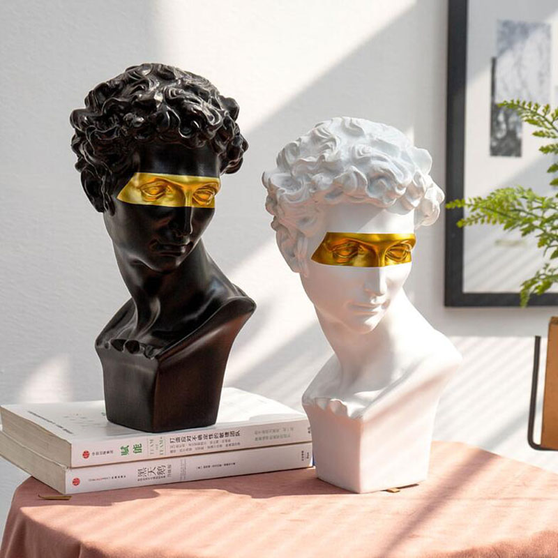 Nordic Resin Statue David Sculpture Home Decoration Modern Abstract Art Mini Sculpture Sketch Model Blindfold Creative Gifts