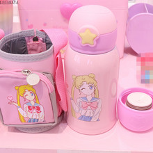 Sailor Moon Stainless Steel Portable Water Bottle Creative Action Figure Cartoon Leak proof Thermos Cup With Straw Gift 500ml