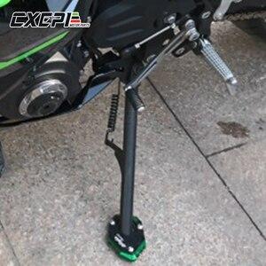 Image 2 - Met Logo Motorfiets Side Stand Extension Plaat Vergroter Pad Voor Kawasaki Versys 650 2015 2018 Ninja 400 2018 2019 Z400 2019