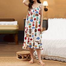 Sweet Women Nightdress Summer Nightgowns Sexy Spaghetti Straps Floral Print Midi Dress Casual Ruffle Sleepwear Plus Size Sundres allover flamingo print ruffle cuff nightdress
