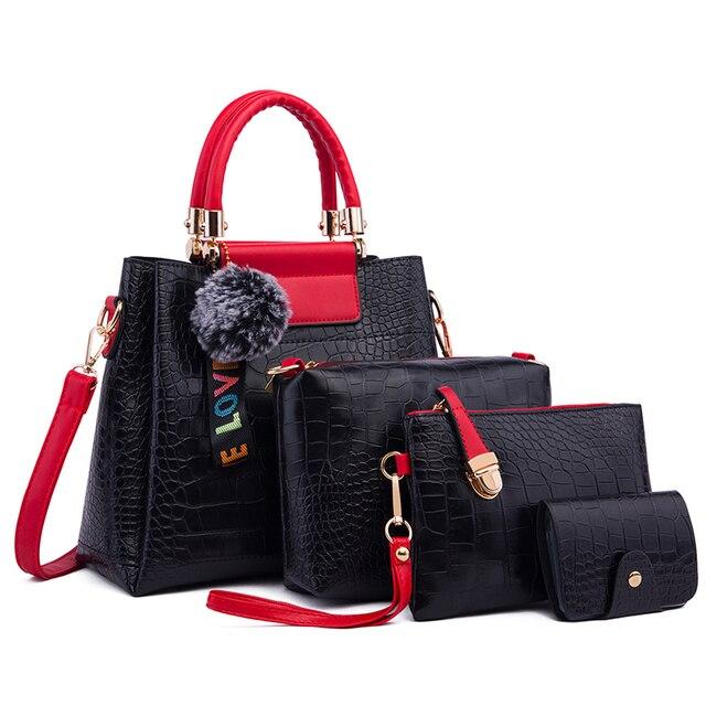 Ceossman 4 pçs/set bolsa feminina sacos de mão das senhoras bolsas de luxo bolsas femininas sacos de grife para a mulher 2020 bolsa saco composto do plutônio 1