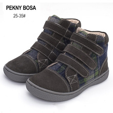 PEKNY BOSA Brand kid plaid ankle boots children Genuine Leather barefoot shoes spring autumn high top toddler girl and boy shoes