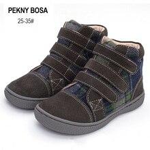 PEKNY BOSA bottines pour enfants, chaussures de marque à carreaux en cuir véritable, chaussures hautes, printemps automne