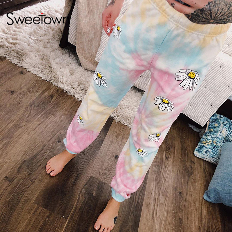 Sweetown Tie Dye Floral Print Baggy Women Jogger Sweatpants Casual Loose High Waist Trousers Female Hip Hop Streetwear Harajuku