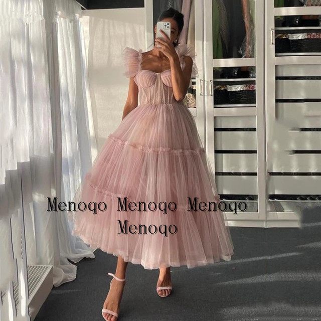 Blush Pink Short Prom Dresses 2021 Off Shoulder Tiered Skirt A-Line Party Dresses Pleated Tea-Length Tulle Formal Gowns 3