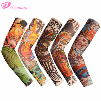 Lynmiss Outdoor Cycling Summer Sunscreen Arm Sleeves Tattoo Cooling Sleeves Fake Tattoo Temporary Sleeves Arm Warmer Sleeves 1pc nylon tatoo arm stockings arm warmer cover elastic fake temporary tattoo sleeves for men women new arrival