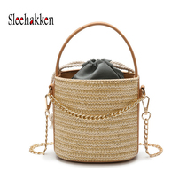 Hand-woven Rattan Bag Round Woman Straw Shoulder Bag Handbag Beach Bag Female Summer Messenger Crossbody Bags Tote Chain Bag