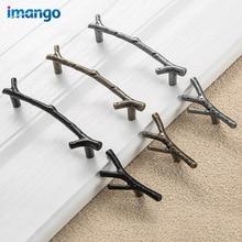 Manija de Metal en forma de rama perilla de muebles de cocina y tirador perilla de gabinete de escritorio tornillo manija de puerta exterior manija y tirador de cajón