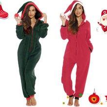 Women Casual Solid Zipper Hooded Jumpsuits Christmas Clown Hat Home Garden Plush Loose Female Jumpsuits Autumn Winter U3