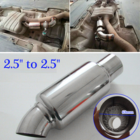 Decorate Exhaust Muffler Pipe Polished Auto Downpipe Branch Sound Replacement Stainless Steel