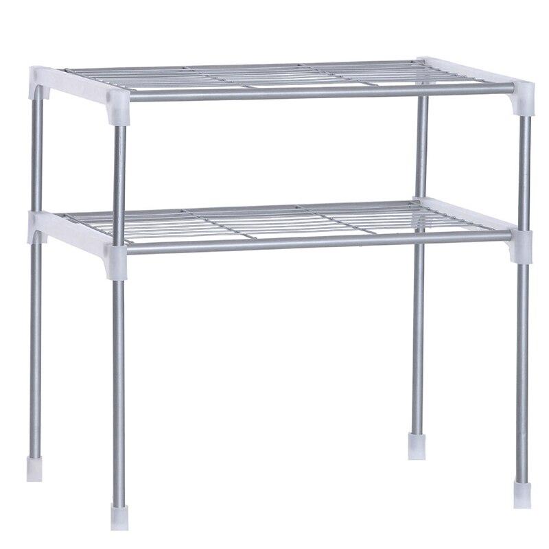 Adjustable Steel Microwave Oven Shelf Detachable Rack Kitchen Tableware Shelves Home Bathroom Storage Rack Holder