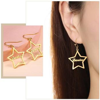Brincos de gota de nome personalizado feminino personalizado aço inoxidável balançar brincos jóias para seus melhores amigos presentes 1