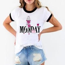 vogue tshirt women pink monday graphic t shirt camiseta mujer paris style harajuku ulzzang haut femme t-shirt streetwear