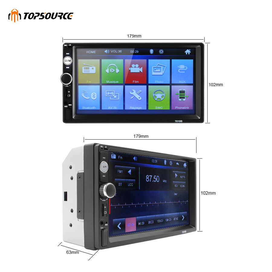 "TOPSOURCE Mobil Radio 7010B 7 ""HD Sentuh Layar Mobil DVD Player 2 Din Audio Stereo Bluetooth Video MP5 Multimedia player FM TF USB"