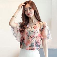 Women Chiffon Blouses Shirts Lady Summer