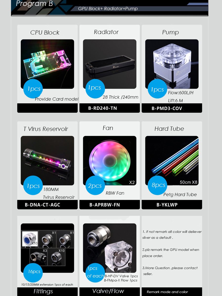 Bykski B-HTRGB-EX Hard Tube Water Cooling Program Kit Multiple computer case water Cooling Kit building accessory RBW Light 1